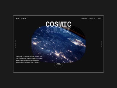 SpaceX Cosmic Surfin - 01 universe space spacex visual design design graphic design typography ui  ux ui design ui user interface design user experience user interface website concept web design website design website
