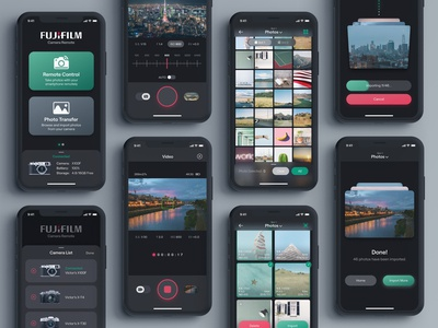 Fujifilm Camera Remote App - Dark Mode dark ui dark theme dark mode fujifilm photography photo camera interaction design mobile design product design mobile app mobile ui app design ui design user interface design user interface user experience ux uiux ui