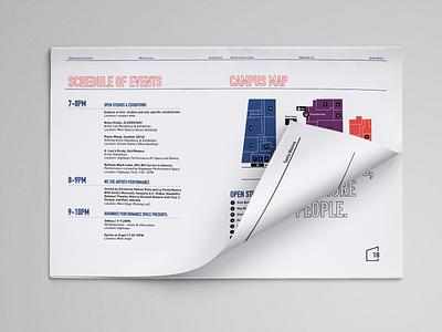 18th Street Arts Center Program Guide #2 program guide brochure design brochure print design graphic design editorial design typography branding