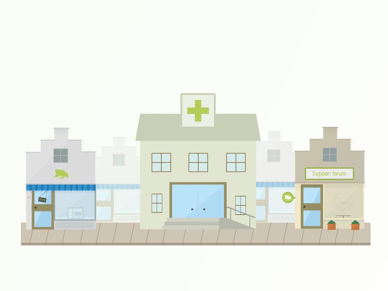 Visualizing a shopping street street illustration buildings