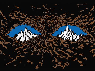 Reading the earth editorial mountain eyes cave earth pentel brushpen brush illustration