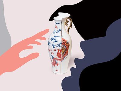 Vase poster cocept store artdirection design illustration vase touch hand lips sense