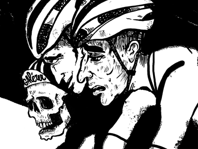 Stages of Suffer bw noir skull brushpen cyclist illustration cycling