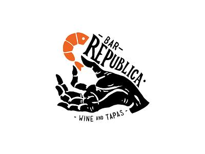 Republica sea food shrimp typography illustration logotype tapas wine hand logo bar republican