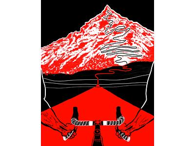 What Lies Ahead bartape handlebar hands serpentine climb mountain road roadbike roadcycling cycling brush illustration