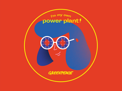 Greenpeace sticker - Sun girl illustration wind sun glasses power plant stickers energy greenpeace