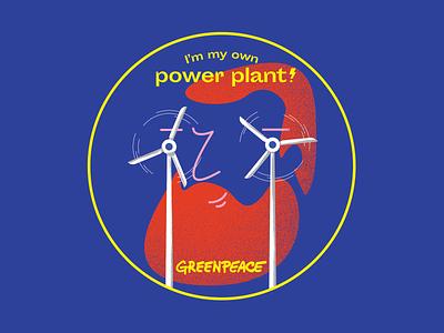 Greenpeace sticker - Wind girl illustration wind sun glasses power plant stickers energy greenpeace