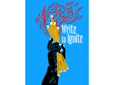 Write to Ignite freedom fake news editorial fire pencils hand torch illustration