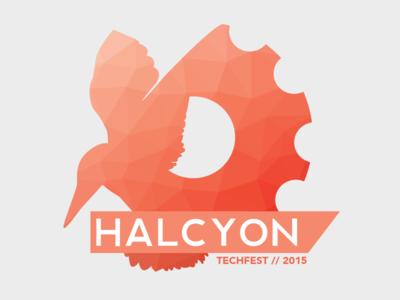Halcyon Logo low poly logo design orange 2015 fest tech logo