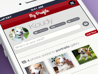 Social for pets (concept) sketch sketchapp ui concept social iphone ios profile dog