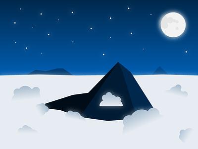 Mountain Top clouds moon sky night top mountain