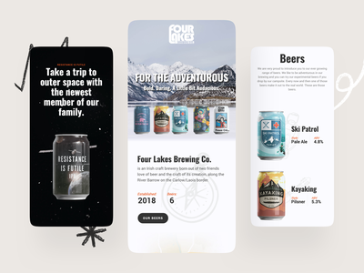 Four Lakes Brewing Company web design interface mobile ui mobile beer branding beer wordpress website web ux ui