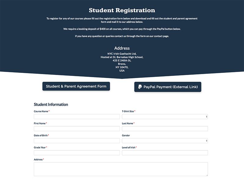 Registration Form for Course sign up course registration application ux ui website web interface interaction input form