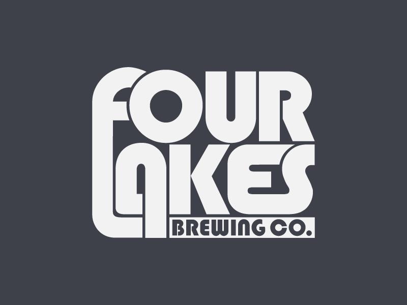 Four Lakes Brewing Co. pale ale craft beer ipa wordmark logotype identity branding brewery brewing beer logo