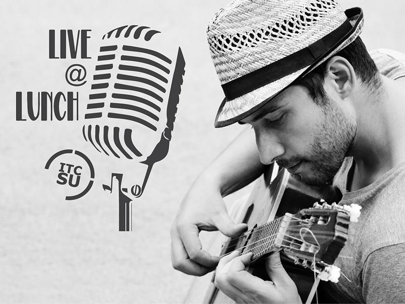 Live @ Lunch Logo acoustic dj musician band guitar music wordmark logotype identity branding logo