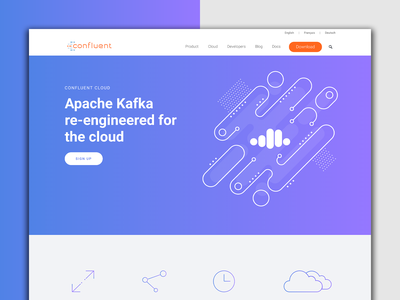 New Cloud Page landing page design illustration illustration art data cloud line line art graphic graphic  design input output information confluent webdesign web