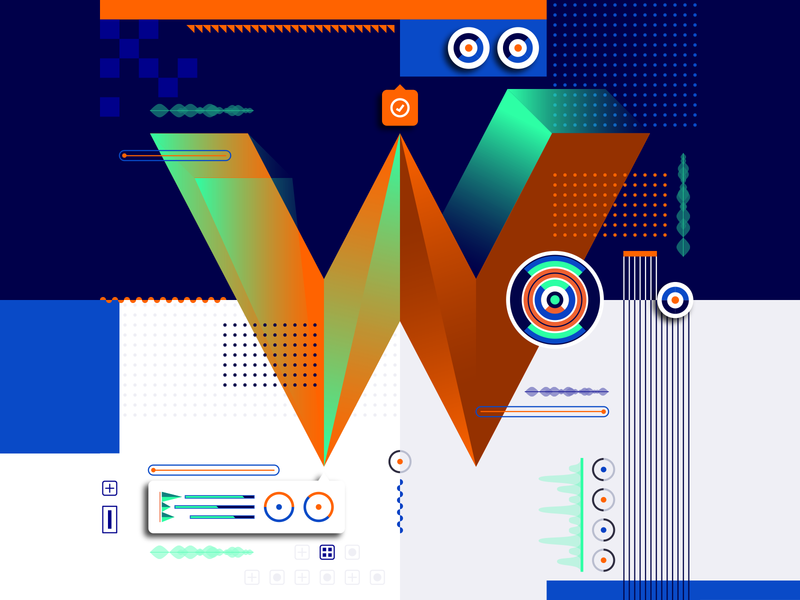 36 Days Of Type_W   6th Edition w 36daysoftype 36days experimental experiments typography type 36 infographic information output input data flat vector art vector illustration graphicdesign design geometric