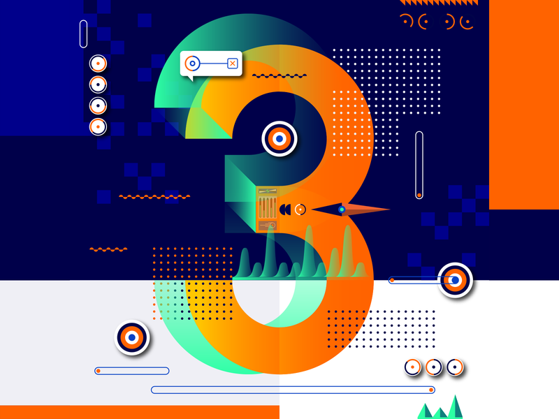 36 Days Of Type_3   6th Edition 3 36daysoftype 36days experimental experiments typography type 36 infographic information output input data flat vector art vector illustration graphicdesign design geometric