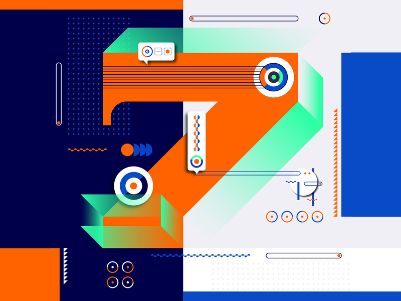 36 Days Of Type_7   6th Edition 7 36daysoftype 36days experimental experiments typography type 36 infographic information output input data flat vector art vector illustration graphicdesign design geometric