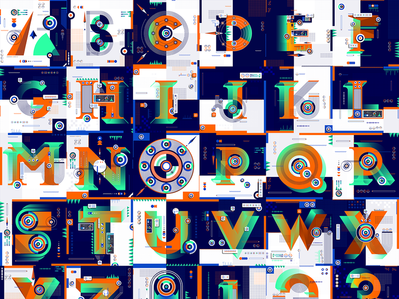 36 Days Of Type_Alphabet   6th Edition numbers number letters letter alphabet 36daysoftype 36days experimental experiments typography type 36 infographic information data flat illustration graphicdesign design geometric