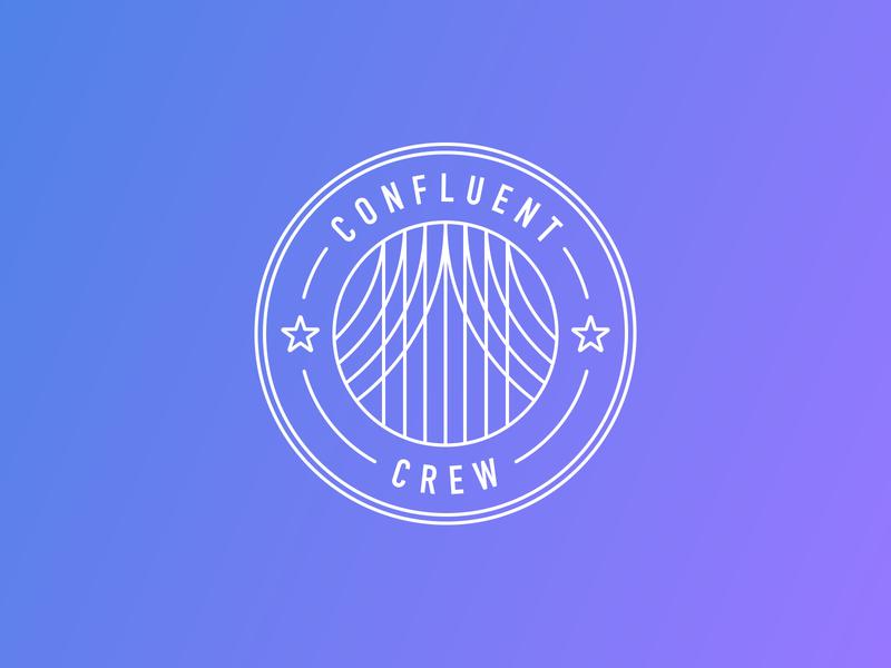 Confluent Crew shield stars star intern internship startup technology tech graphic design team crew flat design flat vectorart logo vector confluent illustration design