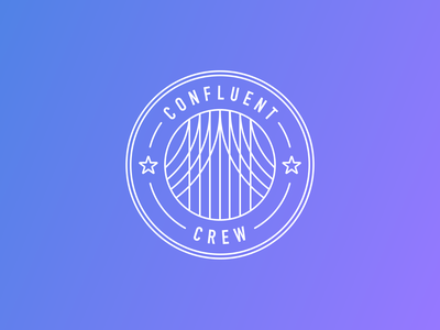 Confluent Crew shield stars star intern internship startup technology tech graphic design team crew flat design flat vectorart logo vector confluent illustration design