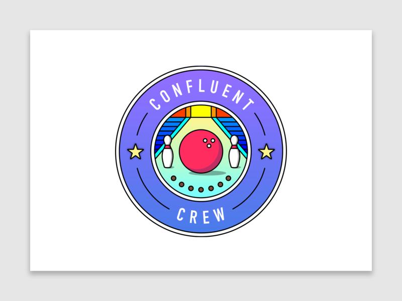 Confluent Crew   Bowling bowling design illustration confluent vector logo vectorart flat flat design crew team graphic design tech technology startup internship intern shield