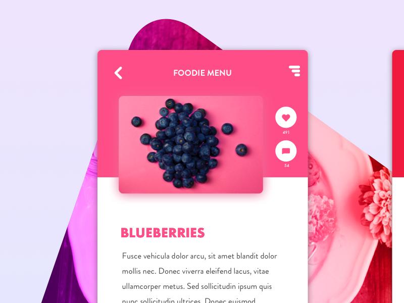 Food blog food blog blog blueberries app display pink and red cool colors app food dailyui ui