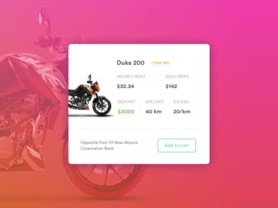 Bike Card rental services bike showcase card layout user experience user interface card bike