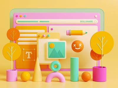 3D Illustration yellow coronarender render lowpoly colors 3d cartoon dribbble design illustration colorful