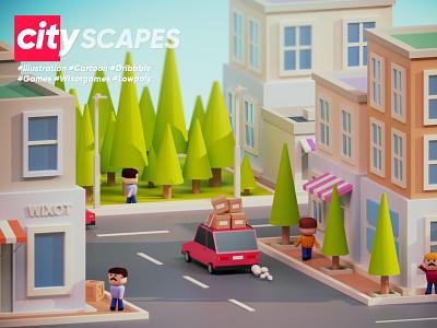 CityScapes 3dillustration modelling design dribbble 3dsmax mobilegames games colorful cartoon illustration