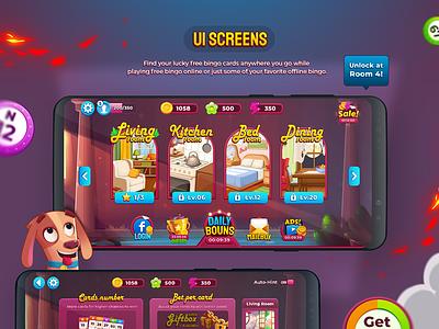 Bingo My Home UI bingo puzzle wixot dribbble ui mobilegames games design illustration colorful cartoon