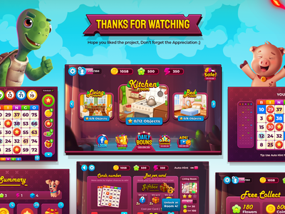 Bingo My Home characters pig turtle 3dillustration bingo wixot dribbble ui mobilegames games design colorful illustration cartoon