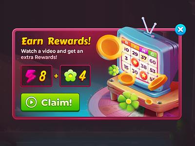 Earn Rewards! bingo wixot dribbble ui mobilegames games design illustration colorful cartoon