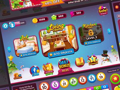 "Bingo Christmas "" 2020 "" vector wixot dribbble ui mobilegames games design illustration colorful cartoon"