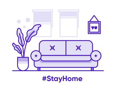 Stay Home points plant windows purple illustraion livingroom covid19 couch stayhome
