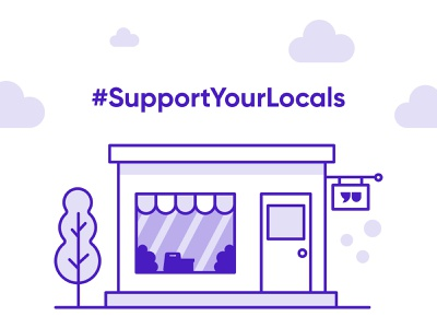 Support Your Locals tree purple illustraion clouds shop local support