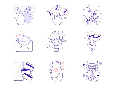 UI illustrations icon set app phone email airballoon highfive clap flag plant cards money hand purple ui branding design icon illustration