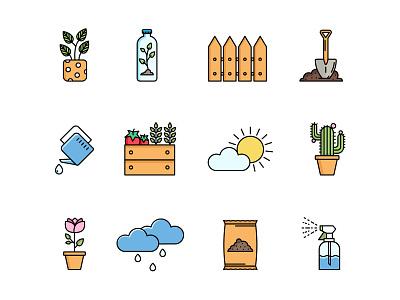 Gardening icons freeicons freebie illustrator flat illustration flower weather spray plants fence rain cactus ui graphic design illustration icon