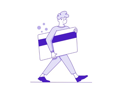 Man with card ui illustraion smiling purple walkind walkind happy bubbles carry line card