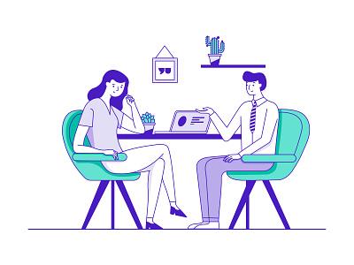 Job interview purple icon vector ui conversion charecter illustration chair cactus laptop plants office woman men interview job