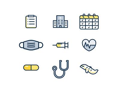 Medical icons list heart hospital calendar pill plain health mask icons medical