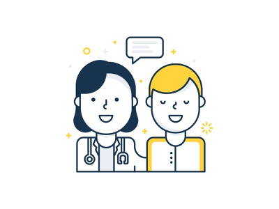 Doctor Patient yellow web bubble speech patient illustration icon happy doctor branding