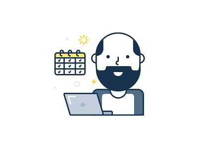 Co-worker work smiling mac illustraion icon happy graphic design computer callendar bald at work