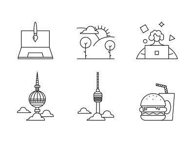 Personal Icons graphic design illustration brush outdoor designer desktop blackandwhite creative stuttgart icon food