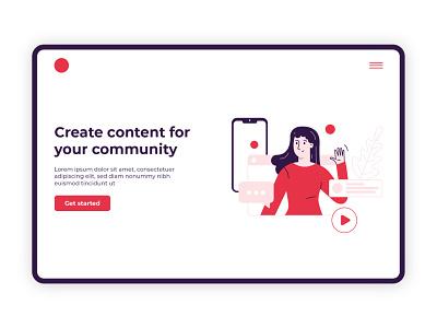 Web illustration red vector cta content webdesign wavig woman ui illustration