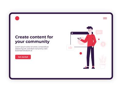 Web Illustration 2 plant icons cta red man guy vector ux graphic design ui illustration