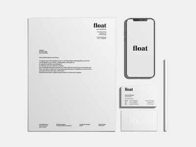 Studio Float Stationery design white balck stationery graphic design branding logo