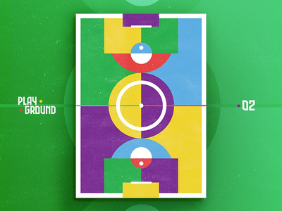 Playground • 02 • ⚽️ poster abstract symetry minimal colorful field illustration soccer football playground